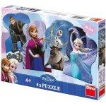 Dino Puzzle Ledové království a přátelé 13x9cm 4xv krabici 34x23x3 54 dílků