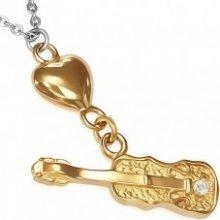 6b7e43ab7 Ocelový náhrdelník - řetízek zlaté srdce a kytara se zirkonem AA34.03