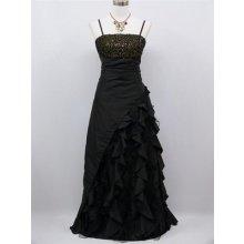 Černé dlouhé Společenské šaty se zlatým topem s volány