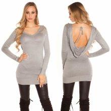 Koucla pletené šaty s otevřenými zády šedá 9d1ff2c0c9