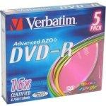 Verbatim DVD-R 4,7GB 16x, AZO, slimbox, 5ks (43557)