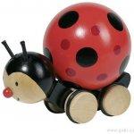 Goki dřevěná hračka beruška s točící se kuličkou