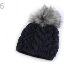 4aa4c67d0c9 Zimní pletená čepice s bambulí modrá pařížská 1ks