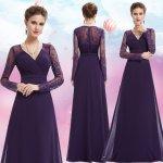 Dlouhé společenské šaty s rukávem na svatbu ples operu fialová 9b86d3ac7a