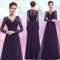 83834fb061d0 Dlouhé společenské šaty s rukávem na svatbu ples operu fialová ...