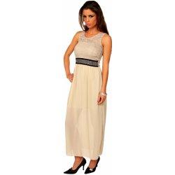 46c62e16418f OEM dámské šaty společenské s krajkovým živůtkem zdobené dlouhé béžová