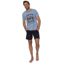 Bavlněné pánské pyžamo Leon sv.modré