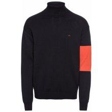 Calvin Klein Jeans Pulovr 'COLOR BLOCK CKJ LOGO TURTLE NECK' světle červená / černá