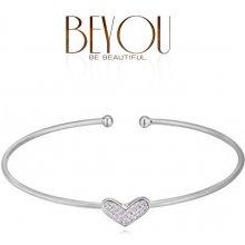Náramek Beyou stalový Diamond heart stříbrný A38791