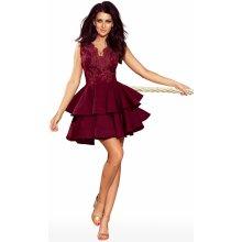40d1fa10fad Dámské exkluzivní šaty s krajkovým dekoltem a dvojitou sukénkou bordó