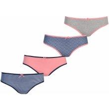 Miso 4 Pack Bikini Briefs dámské Modro/růžová