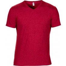 Tričko V-výstřih Červená žíhaná