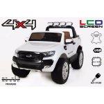 Beneo elektrické autíčko Ford Ranger Wildtrak 4X4 LCD Luxury 12V EVA kola nelakované čalouněné sedadlo 24 GHz DO klíč 2 X motor dvoumístné bílé bluetooth USB
