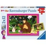 RAVENSBURGER 2x12 dílků Máša a medvěd Zábava v lese