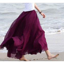 Dlouhá letní sukně šifonová fialová alternativy - Heureka.cz 2f043ddec80