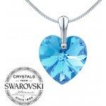 Silvego stříbrný přívěsek Srdce Aquamarine 1 se Swarovski Crystals LSW015P