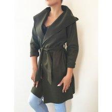 fa1bd205bd1 Dámský elegantní kabátek s kapucí zelený