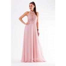 6cf021d59b28 Eva   Lola krajkové večerní šaty ke krku růžová