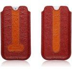 Pouzdro ICARER kožené zasouvací iPhone 5 5S SE - pštros RIP 506 červené