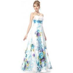 dlouhé letní společenské svatební šaty bez ramínek se vzorem Bílé ... 0038e575dc