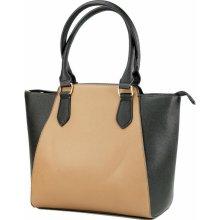 Beiyani kabelka s designovými doplňky černo béžová