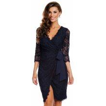cb621658b117 MAYAADI společenské a plesové šaty Deluxe krajkové falešně zavinovací tmavě  modrá