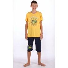 Dětské pyžamo kapri Motorka žlutá
