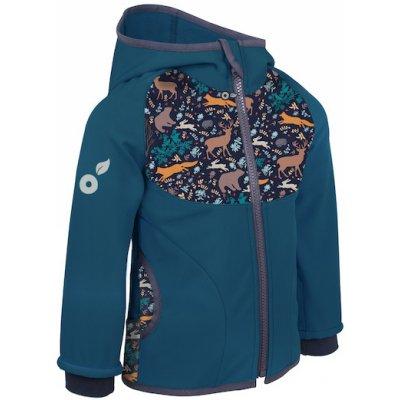 Unuo dětská softshellová bunda s fleecem Kobaltová Noční zvířátka