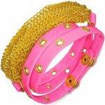náramek kožený růžový pás s vybíjaním, zlaté řetízky AB21.13