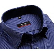 Eterna Modern Fit Twill – modrá košile s bílým proužkem a vnitřním límcem -  predĺžený rukáv dfa8d737f4