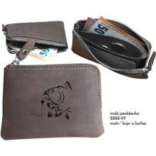 29303dd4a1 Zamlinsky Rybářská kožená peněženka Malá s raženým vzorem Kapr a Boilies
