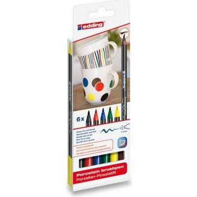 Sada štětcové fixy na porcelán, 6 základních barev Edding 4200