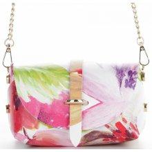 67d7436ebe Vittoria Gotti kožená kabelka listonoška květiny Malovaná Multicolor Růžová