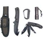 MFH set / sada 2 nožů - s pevnou čepelí zavírací nůž LED svítilna a karabina