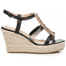 Bellucci dámské sandály na plátěném klínku C042-365B černé