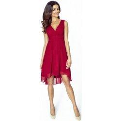 f018119ea56a Kartes krásné šifonové šaty bez rukávu s asymetrickou sukní KM154-4 vínová