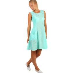 Krátké letní šaty s výraznými kapsami a krajkou 234336 světle zelená ... 4f1dbda187