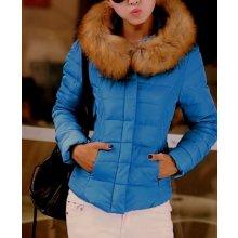 Dámská zimní bunda s kožešinkou modrá 7031093-2