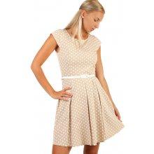 a7b3153749c6 TopMode puntíkované retro šaty s páskem i pro plnoštíhlé béžová