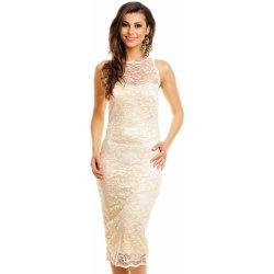 daddbad1464 Mayaadi společenské šaty krajkové bez rukávu středně dlouhé krémová ...