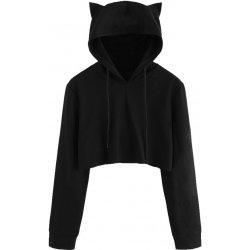 Dámský crop top s kapucí a kočičíma ušima černý dámská mikina ... 860f5541d4