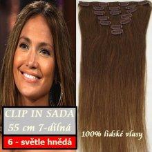 Clip in vlasy REMY 100% lidské 50 cm - odstín 6 světle hnědá