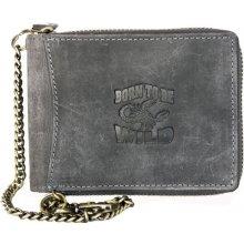 Born to be wild šedá kožená peněženka se škorpionem dokola na zip, s řetězem a karabinkou