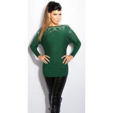 Koucla dámský dlouhý svetr s kamínky zelená 5b3ab8b616