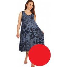 c92de2f36bcf YooY volné šaty s květinovým vzorem i pro plnoštíhlé červená