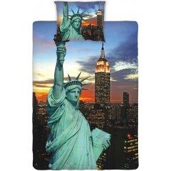 Povlečení a ložní prádlo Jerry Fabrics povlečení bavlna fototisk New York Night Socha Svobody 140x200 70x90