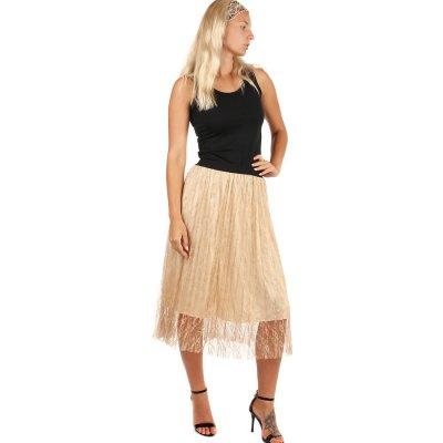 Glara společenská tylová midi sukně béžová 249125