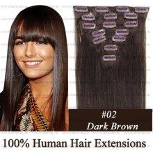 CLIP IN (klipy) pravé lidské vlasy remy 50cm odstín 02 tmavě hnědá 7 částí 70g