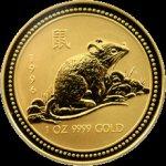 Lunární Zlatá investiční mince Year of the Mouse Rok Myši 1 Oz 1996