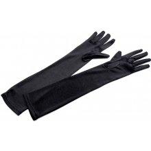 Společenské saténové rukavice 45 cm, černá
